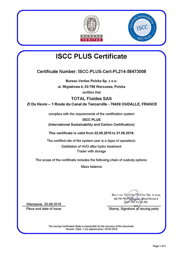 ISCC Plus Certificate